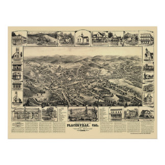 Placerville, CA Panoramic Map - 1888 Poster