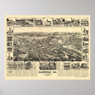 Placerville, mapa panorámico de CA - 1888 Posters