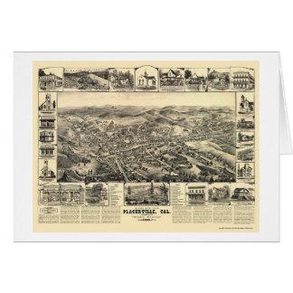 Placerville, mapa panorámico de CA - 1888 Tarjeta De Felicitación