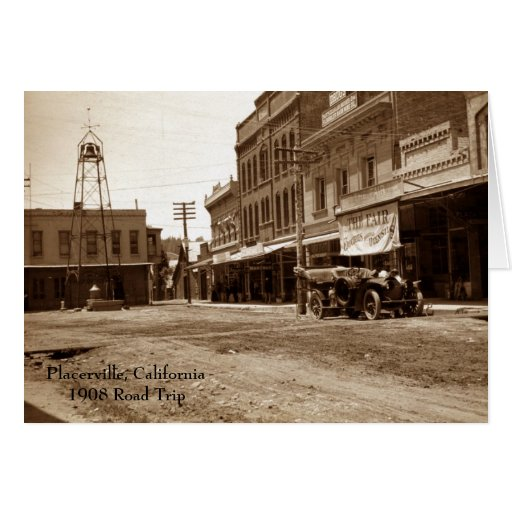 Placerville, viaje por carretera 1908 de tarjeta pequeña