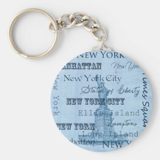 Places New York Basic Round Button Keychain