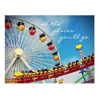 """Places"" quote ferris wheel & roller coaster photo Postcard"