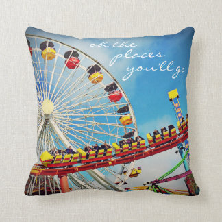 """Places"" Quote Ferris Wheel & Roller Coaster Photo Throw Pillow"