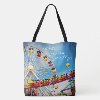 """""""Places"""" quote ferris wheel & roller coaster photo Tote Bag"""