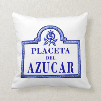 Placeta del Azúcar, Granada Street Sign Throw Pillows
