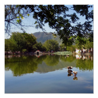 Placid mirror lake poster