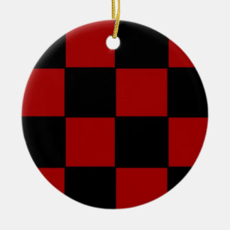 Plad rojo adorno navideño redondo de cerámica