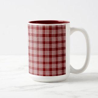 Plad rojo y blanco taza de café de dos colores