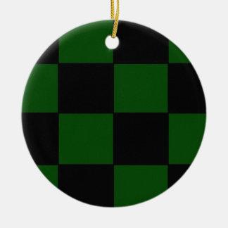Plad verde adorno navideño redondo de cerámica