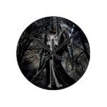 Plaga abstracta del caballero negro de la fantasía relojes de pared