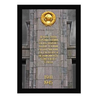 Plaga soviética comunista del monumento de guerra invitaciones personalizada