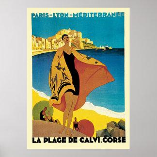Plage De Calvi Corse del La de riviera francesa Póster