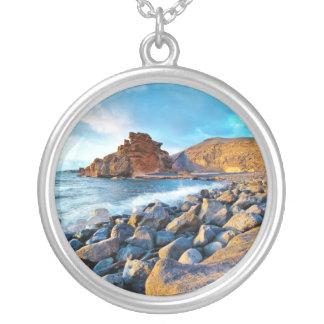 Plage de El Golfo Plages de Lanzarote Espagne Silver Plated Necklace