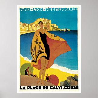 Plage de poster del viaje del vintage de Calvi, Fr