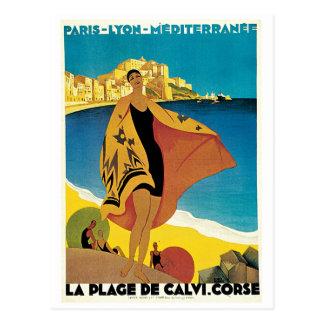 Plage de poster del viaje del vintage de Calvi, Fr Postales