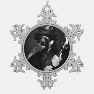 Plague Doctor Snowflake Pewter Christmas Ornament