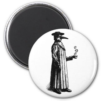 Plague Doctor with a Hot Cuppa 2 Inch Round Magnet