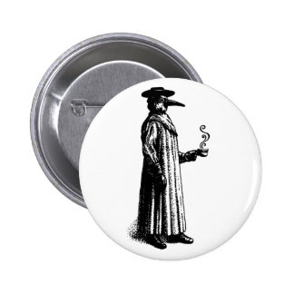 Plague Doctor with a Hot Cuppa 2 Inch Round Button