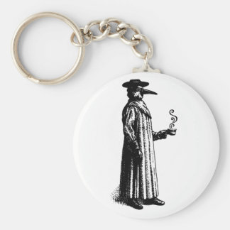 Plague Doctor with a Hot Cuppa Basic Round Button Keychain