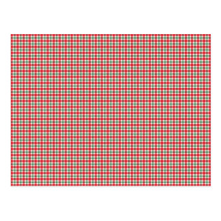 plaid03 RED WHITE PLAID CHECKERED PATTERN TEMPLATE Postcard