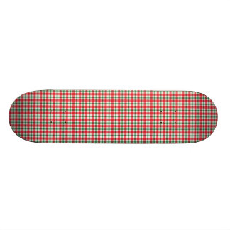 plaid03 RED WHITE PLAID CHECKERED PATTERN TEMPLATE Skateboard Deck