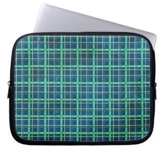 plaid23 BLUE GREEN AQUA SQUARES PLAID PATTERN BACK Computer Sleeves