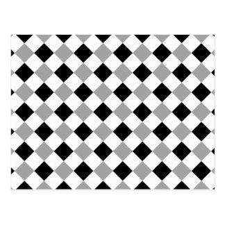 Plaid 1 Black and White Silver Postcard