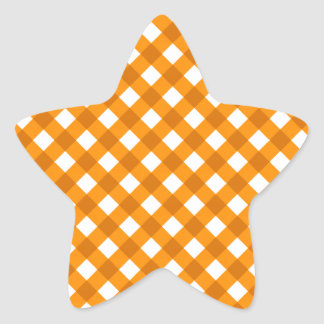 Plaid 1 Orange Star Sticker