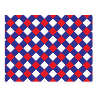 Plaid 1 Red White Blue Postcard