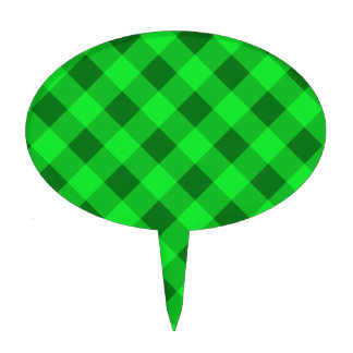 Plaid 2 Green Cake Toppers