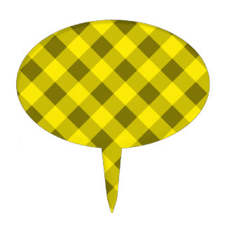 Plaid 2 Yellow Cake Toppers
