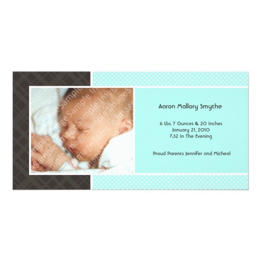 Plaid and Micro Dots Aqua New Baby Photo Cards