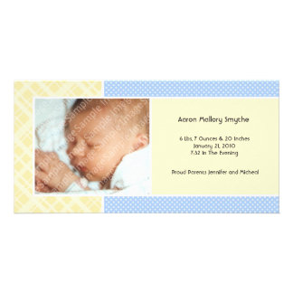 Plaid and Micro Dots Boy New Baby Photo Cards
