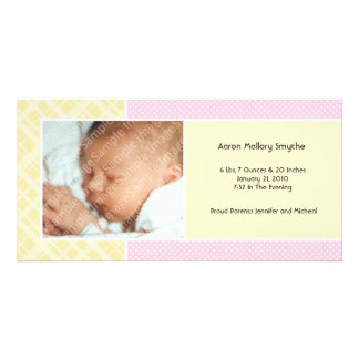 Plaid and Micro Dots Girl New Baby Photo Cards