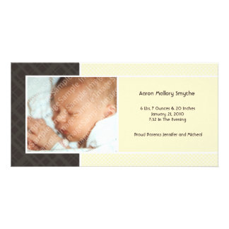 Plaid and Micro Dots Ivory New Baby Photo Cards