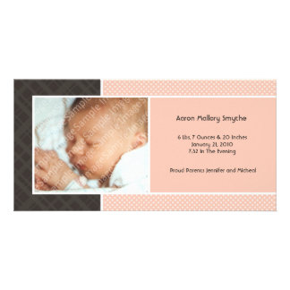 Plaid and Micro Dots Melon New Baby Photo Cards