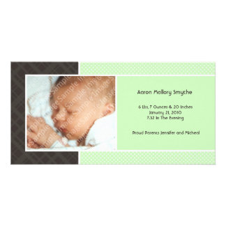 Plaid and Micro Dots Mint New Baby Photo Cards