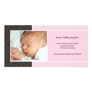 Plaid and Micro Dots Pink New Baby Photo Cards