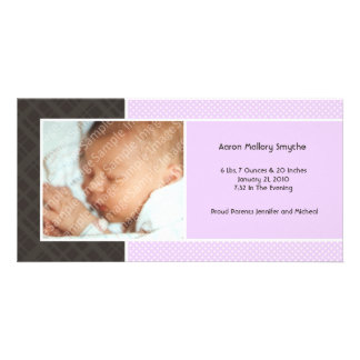 Plaid and Micro Dots Purple New Baby Photo Cards