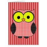 Plaid and Polka Dot Owl Birthday Greeting Cards