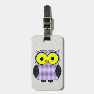 Plaid and Polka Dot Owl V2 Bag Tag