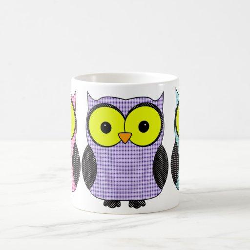 Plaid and Polka Dot Owls Coffee Mug