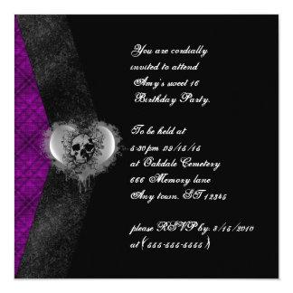 "Plaid and Skull Gothic Sweet 16 Birthday Invites 5.25"" Square Invitation Card"