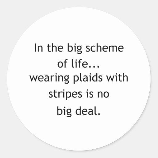 Plaid And Stripes Classic Round Sticker