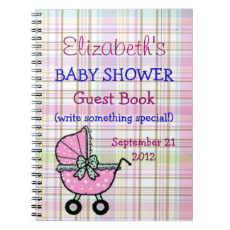Plaid and Stroller Baby Shower Guest Book