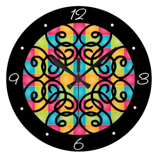 Plaid and Swirls Clock