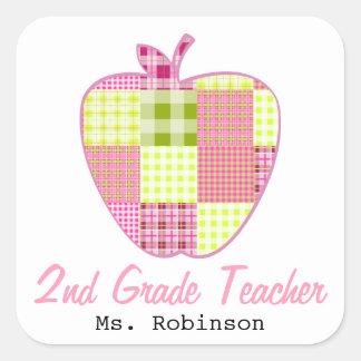 Plaid Apple 2nd Grade Teacher Square Sticker