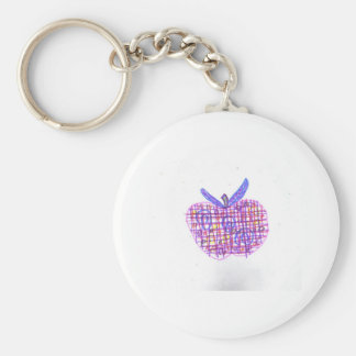 Plaid Apple Basic Round Button Keychain