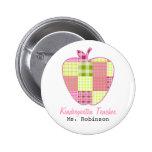 Plaid Apple Kindergarten Teacher Buttons