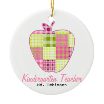 Plaid Apple Kindergarten Teacher Ceramic Ornament